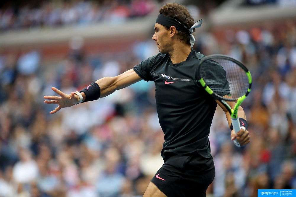 2017 U.S. Open Tennis Tournament - DAY FOURTEEN.  A sequence showing the grip and release of his tennis racquet by Rafael Nadal of Spain in action against Kevin Anderson of South Africa in the Men's Singles Final at the US Open Tennis Tournament at the USTA Billie Jean King National Tennis Center on September 10, 2017 in Flushing, Queens, New York City.  (Photo by Tim Clayton/Corbis via Getty Images)