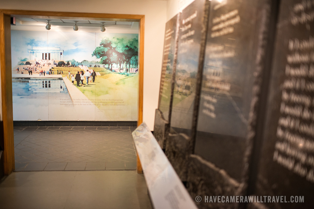 Exhibits underneath the Lincoln Memorial provide information on the creation of the memorial and its famous subject.