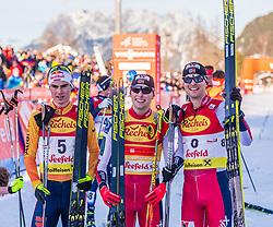31.01.2020, Seefeld, AUT, FIS Weltcup Nordische Kombination, Langlauf, Gundersen 5 Km, Siegerehrung, im Bild v.l. Vinzenz Geiger (GER), Jarl Magnus Riiber (NOR), Joergen Graabak (NOR) // f.l. Vinzenz Geiger of Germany Jarl Magnus Riiber of Norway and Joergen Graabak of Norway during the winner ceremony for the Gundersen 5 Km Cross Country Competition of FIS Nordic Combined World Cup at the Seefeld, Austria on 2020/01/31. EXPA Pictures © 2020, PhotoCredit: EXPA/ Stefan Adelsberger