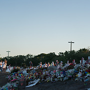 MARCH 22, 2018--PARKLAND, FLORIDA<br /> Makeshift memorial in front of Marjorie Stonemason Douglass High School following the events of February 14, 2018, when a former student opened fired in the school killing 17 people including students and staff. <br /> (PHOTO BY ANGELVALENTIN/FREELANCE)