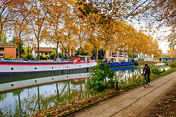 A cyclist on the tow path of the Canal du Midi, Toulouse, France<br /> <br /> (c) Andrew Wilson | Edinburgh Elite media