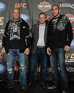 MANCHESTER, ENGLAND, NOVEMBER 12, 2009: Randy Couture (left) and Brandon Vera pose for photograpgs during the pre-fight press conference for UFC 105 at the MEN Arena in Manchester, England on November 12, 2009.