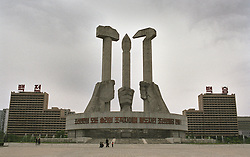 Pyongyang, North Korea, April/May 2004. Korean Worker's Party Monument. The hammer stands for the Industrial workers, the Sickel for the Agricultural workers, the brush for the Intellectual/Artistic workers. (Photo by Teun Voeten) *** Please Use Credit from Credit Field ***
