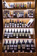 Bottles of red wine of Bodegas Arzuaga - Crianza, Reserva - ribera del Duero wine production by River Duero, Navarro, Spain