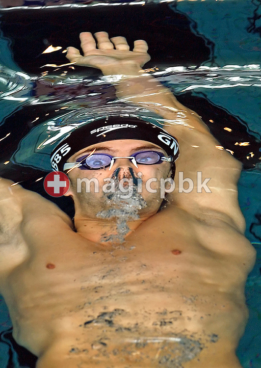 Jonathan Massacand of Switzerland competes in the men's 200m backstroke heats in the Hallenbad Oerlikon at the Swimming Swiss Championships in Zurich, Switzerland, Saturday 12 May 2007. (Photo by Patrick B. Kraemer / MAGICPBK)