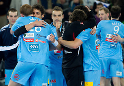 Jure Dobelsek and Matej Gaber of Slovenia celebrate after winning the handball match between National teams of Slovenia and Poland of Qualification Group 3 for Men's EURO 2012, on March 9, 2011 in Arena Stozice, Ljubljana, Slovenia. Slovenia defeated Poland 30-28. (Photo By Vid Ponikvar / Sportida.com)
