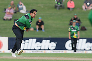 Central Stags Kieran Noema-Barnett bowls during the Burger King Super Smash T20 cricket match between the Central Stags and the Northern Knights, McLean Park, Napier, Friday, January 25, 2019. Copyright photo: Kerry Marshall / www.photosport.nz
