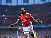 Theo Walcott celebrates scoring the first goal. Arsenal v Villarreal (3-0) 15/04/09 at Emirates Stadium.The UEFA Champions League Q/Final 2nd Leg.