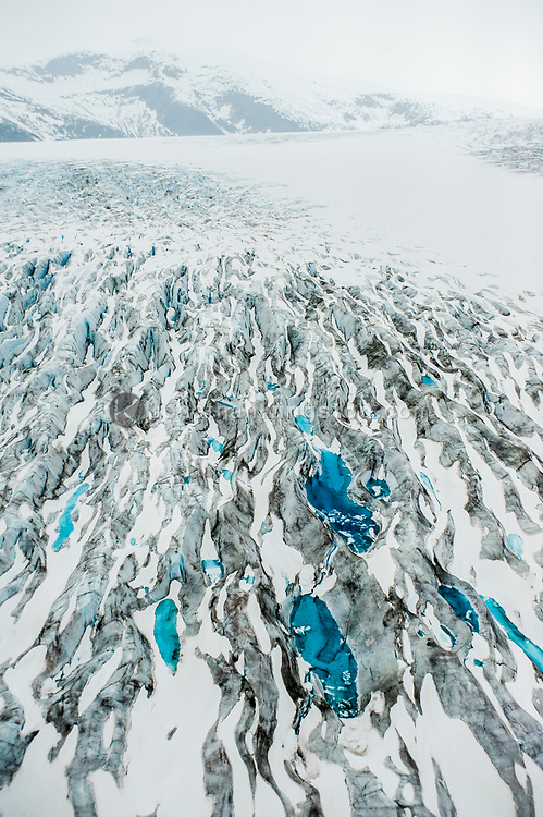 Aerial view of moulin's on the Taku Glacier, Juneau Icefield, Alaska.