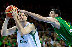 Erazem Lorbek of Slovenia vs Ksistof Lavrinovic of Lithuania during basketball game between National basketball teams of Slovenia and Lithuania at of FIBA Europe Eurobasket Lithuania 2011, on September 15, 2011, in Arena Zalgirio, Kaunas, Lithuania. Lithuania defeated Slovenia 80-77.  (Photo by Vid Ponikvar / Sportida)