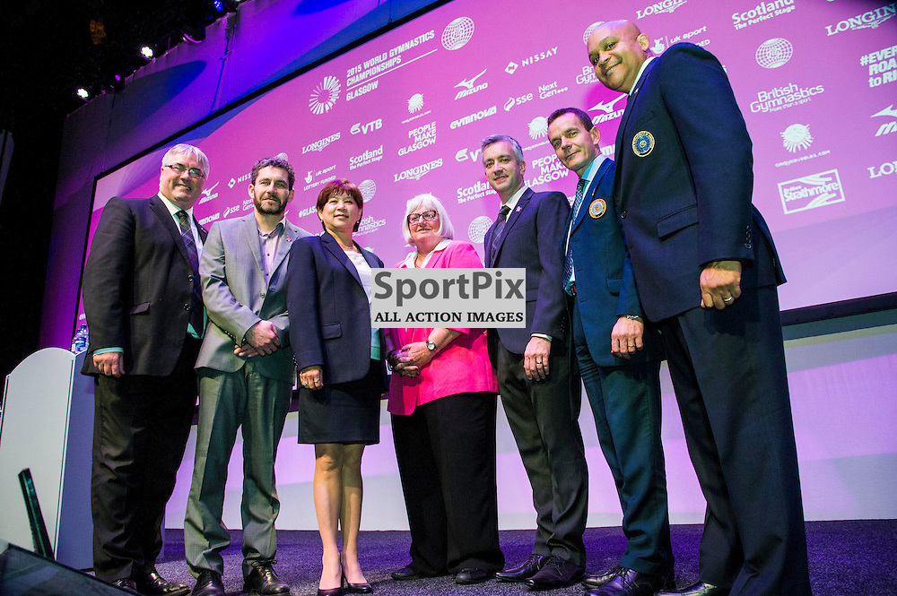 Pictured: Councillor Frank McAveety, Matthew Greenwood, Nellie Kim, Jane Allen, Colin Hartley. Nicolas Boumpane and Steve Butcher.<br /> <br /> Nicolas Boumpane, FIG Deputy Secretary GeneralSteve Butcher, FIG Technical Committee President for Men's Artistic GymnasticsNellie Kim, FIG Technical Committee President for Women's Artistic GymnasticsJane Allen, Chief Executive British GymnasticsCouncillor Frank McAveety, Leader of Glasgow City Council Matthew Greenwood, Competition ManagerColin Hartley, Championships Director John Egan, Senior Communications Officer<br /> <br /> 2015 World Gymnastics Gymnastics championships are being held in Glasgow between 23 October and 1 November. Today the organisation held a press conference to outline the process and scoring issues that will be handled during the championships.<br /> <br /> &copy; Ger Harley/ StockPix.eu 23 October 2015