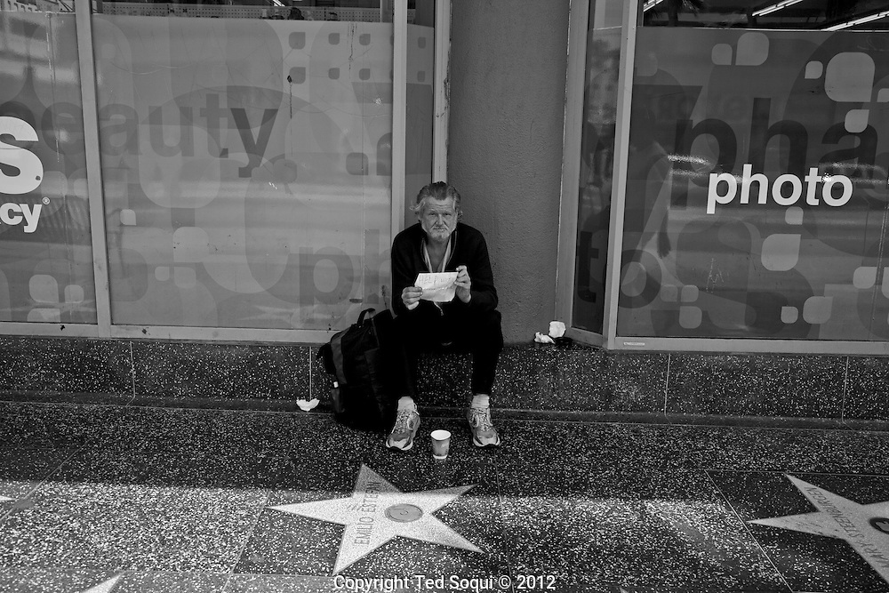 A homeless man on Hollywood blvd.