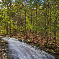 Chapel Falls are located in Chapel Brook Reservation near Ashfield, MA. Chapel Brooks Falls is a beautiful set of three waterfalls that cascade into downstream pools, deep enough to swim in. One of the waterfalls makes a great slide to splash down into the pool. <br />