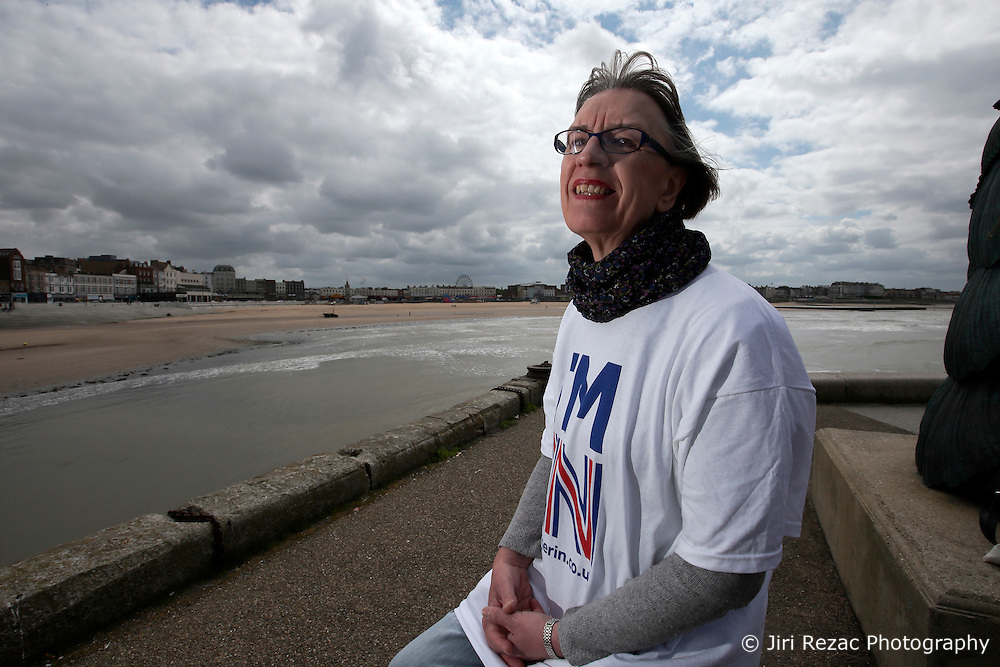 UK ENGLAND MARGATE 14MAY16 -Vote Remain campaign volunteer Dr Lynda Lich-Knight poses for a photo in Margate, Kent, England.<br /> <br /> jre/Photo by Jiri Rezac<br /> <br /> © Jiri Rezac 2016