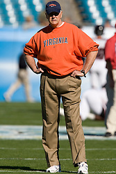 Virginia head coach Al Groh watches his team warmup.  The Texas Tech Red Raiders defeated the Virginia Cavaliers 31-28 in the 2008 Konica Menolta Gator Bowl held at the Jacksonville Municipal Stadium in Jacksonville, FL on January 1, 2008.