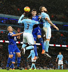 Bacary Sagna of Manchester City challenges Everton's John Stones  - Mandatory byline: Matt McNulty/JMP - 07966 386802 - 13/01/2016 - FOOTBALL - Etihad Stadium - Manchester, England - Manchester City v Everton - Barclays Premier League