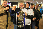 Bromley fans with their replica F.A. Cup pre match during the The FA Cup match between Rochdale and Bromley at Spotland, Rochdale, England on 4 November 2017. Photo by Daniel Youngs.