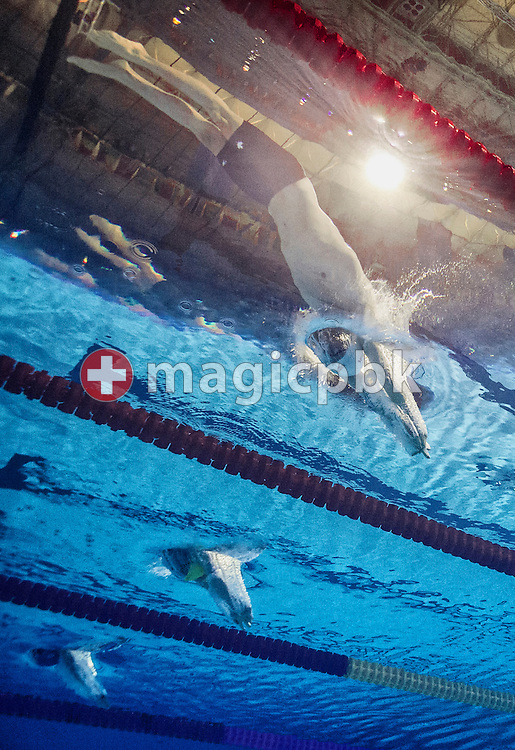 Ryan Cochrane of Canada (top) competes in the men's 1500m Freestyle Heats during the 15th FINA World Aquatics Championships at the Palau Sant Jordi in Barcelona, Spain, Saturday, Aug. 3, 2013. (Photo by Patrick B. Kraemer / MAGICPBK)