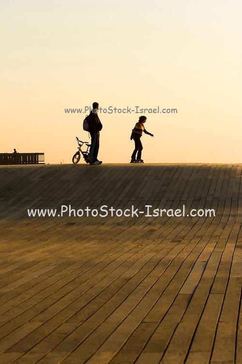 Bicycles on the Tel Aviv promenade, in the old Tel Aviv port