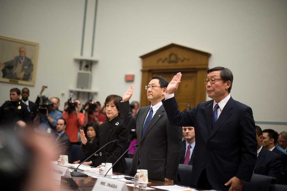 Toyota President and CEO Akio Toyoda, center, and Yoshimi Inaba, COO and President of of Toyota Motor North America, are sworn in before a House Government Reform Committee hearing on the recent recalls on Toyota vehicles on Wednesday, Feb. 24, 2010 in Washington.