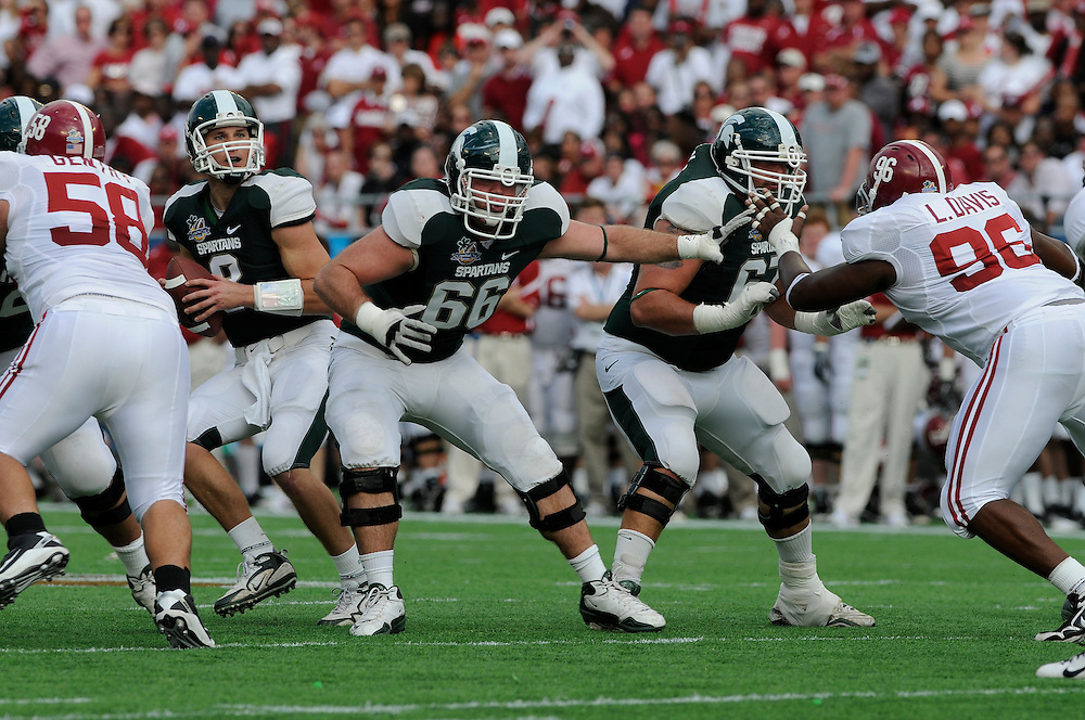 January 1, 2011: John Stipek of the Michigan State Spartans in action during the NCAA football game between MSU and the Alabama Crimson Tide at the 2011 Capital One Bowl in Orlando, Florida. Alabama defeated Michigan State 49-7.