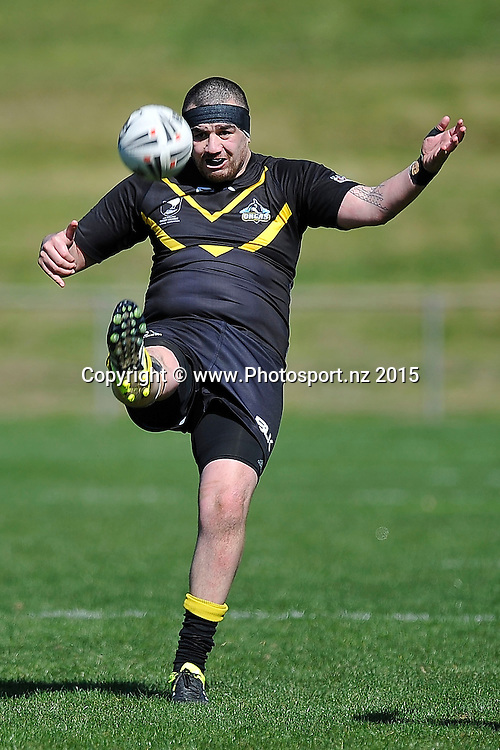 Bronson Marino of the Orcas kicks the ball during the NRL National Premiership rugby league match between Wellington Orcas v Wai-Coa-Bay Stallions at Porirua Park in Wellington on Saturday the 12th September 2015. Copyright photo by Marty Melville / www.photosport.nz