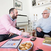 Jonny Daniels meets with Moshe Tirosh on January 13, 2015 in Karmiel, Israel. (Photo by Elan Kawesch)