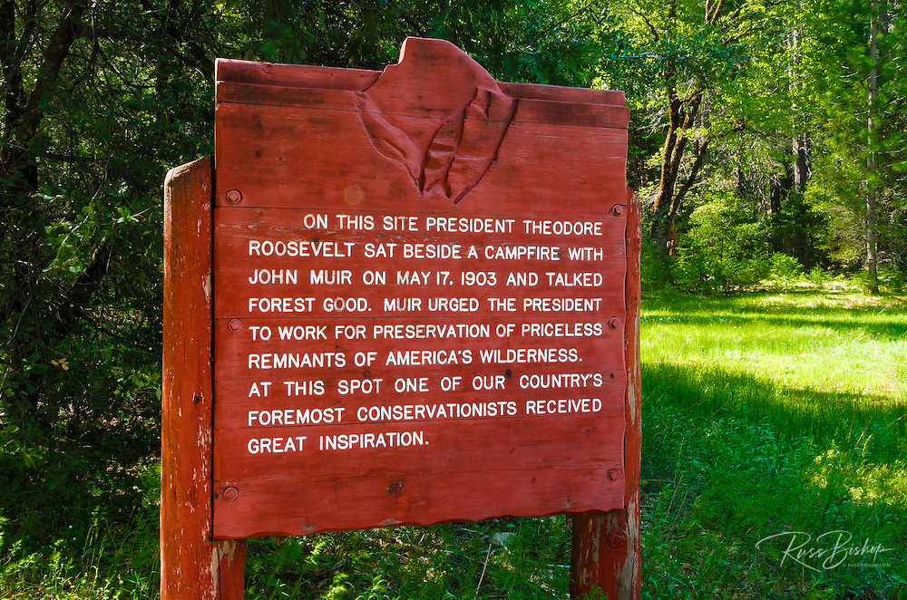 Interpretive sign at John Muir and Theodore Roosevelt camp, Yosemite National Park, California USA