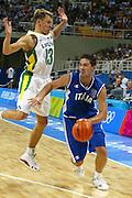 ATENE,  27 AGOSTO 2004<br /> OLIMPIADI ATENE 2004<br /> BASKET, SEMIFINALE<br /> ITALIA - LITUANIA<br /> NELLA FOTO: ALEX RIGHETTI<br /> FOTO CIAMILLO