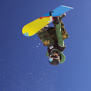 Taylor Gold, USA, in action during the Men's Half Pipe Finals in the LG Snowboard FIS World Cup, during the Winter Games at Cardrona, Wanaka, New Zealand, 28th August 2011. Photo Tim Clayton...