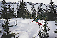 Day 2 - Mark Kogelmann backcountry skiing near the Last Dollar Hut, one of the San Juan Huts, San Juan Mountains, Colorado.