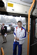 Henley, Great Britain, Peter REED, stepping on to the bus, Leander Club, Athletes, Olympic celebration and open top bus tour of the town, on Sat 11.10.2008. [Mandatory Credit: Peter Spurrier]