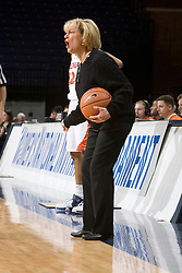 Virginia Cavaliers Head Coach Debbie Ryan delivers instructions to her team in action against Charlotte.  The Virginia Cavaliers women's basketball team defeated The University of North Carolina - Charlotte 49ers 74-72 in the 2nd round of the Women's NIT at John Paul Jones Arena in Charlottesville, VA on March 19, 2007.