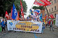 Roma 28 Maggio 2012.Manifestazione dei lavoratori dell'Acea  con i sindacati per protestare contro la decisione del Sindaco di Roma Gianni Alemanno di privatizzare l'acqua..