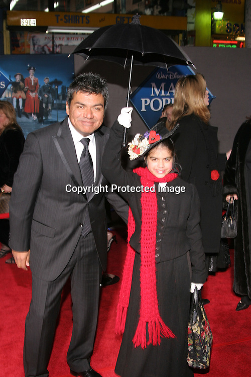 George Lopez &amp; daughter Mayan<br />&quot;Mary Poppins&quot; 40th Anniversary and Launch of the Special Edition DVD<br />El Capitan Theatre<br />Hollywood, CA, USA<br />Tuesday, November 30th, 2004<br />Photo By Celebrityvibe.com/Photovibe.com, <br />New York, USA, Phone 212 410 5354, <br />email: sales@celebrityvibe.com