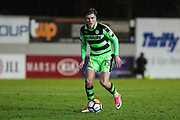 Forest Green Rovers Charlie Cooper(15) on the ball during the 2nd round replay in The FA Cup match between Exeter City and Forest Green Rovers at St James' Park, Exeter, England on 12 December 2017. Photo by Shane Healey.