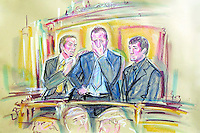 COPYRIGHT PRISCILLA COLEMAN ITN. PHOTONEWS SERVICE LTD OLD BAILEY 22.08.02.PIC SHOWS:L-R CHELSEA FOOTBALLER JODY MORRIS, JOHN TERRY, DES BYRNE, GUILDHALL IN LONDON TODAY WHERE HE WAS FOUND NOT GUILTY OF THE  ASSAULT OF NIGHTCLUB BOUNCER TREVOR THIRLWALL -SEE STORY.