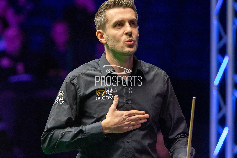A light hearted moment as Mark Selby's heart starts to flutter following a re-spotted pink during the final frame at the World Snooker 19.com Scottish Open Final Mark Selby vs Jack Lisowski at the Emirates Arena, Glasgow, Scotland on 15 December 2019.