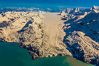 Aerial view of Lamplugh Glacier, Glacier Bay National Park, southeast Alaska USA. Glacier Bay is a UNESCO World Heritage Site.