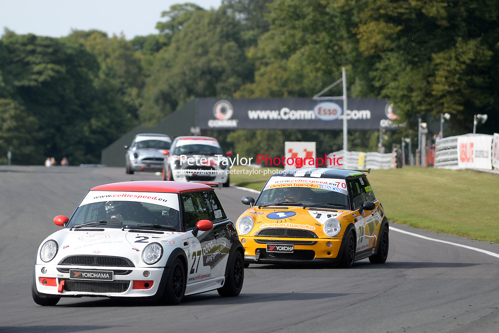 #27 Lewis Carter Mini Cooper during Celtic Speed Scottish Mini Cooper Cup Race 2 as part of the Mini Festival  at Oulton Park, Little Budworth, Cheshire, United Kingdom. August 08 2015. World Copyright Peter Taylor. Copy of publication required for printed pictures.  Every used picture is fee-liable. http://archive.petertaylor-photographic.co.uk
