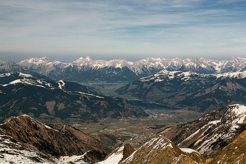 A view from the Kitzsteinhorn looking towards Zell Am See in the Austrian Alps