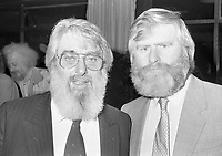 Ronnie Drew and John Sheahan of The Dubliners at the reception in Guinness to launch the film The Dubliner's Dublin, circa October 1988 (Part of the Independent Newspapers Ireland/NLI Collection).