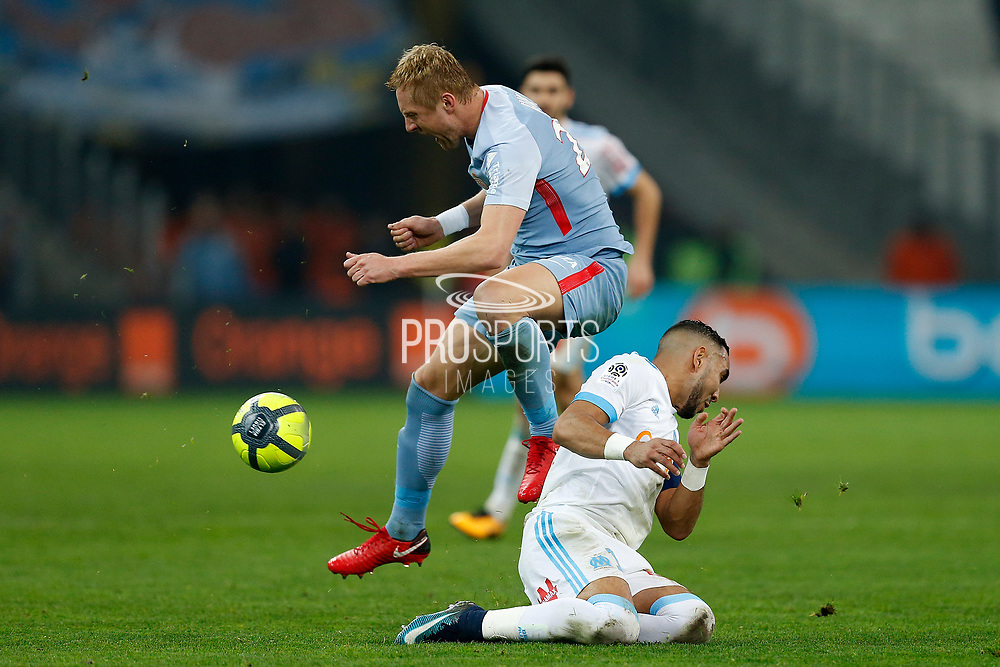 Olympique de Marseille's French forward Dimitri Payet tackles during the French Championship Ligue 1 football match between Olympique de Marseille and AS Monaco on January 28, 2018 at the Orange Velodrome stadium in Marseille, France - Photo Benjamin Cremel / ProSportsImages / DPPI
