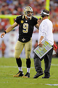 New Orleans Saints quarterback Drew Brees (9) with head coach Sean Payton during the Saints game against the Tampa Bay Buccaneers at Raymond James Stadium on Sept. 15, 2013 in Tampa, Florida. <br /> &copy;2013 Scott A. Miller