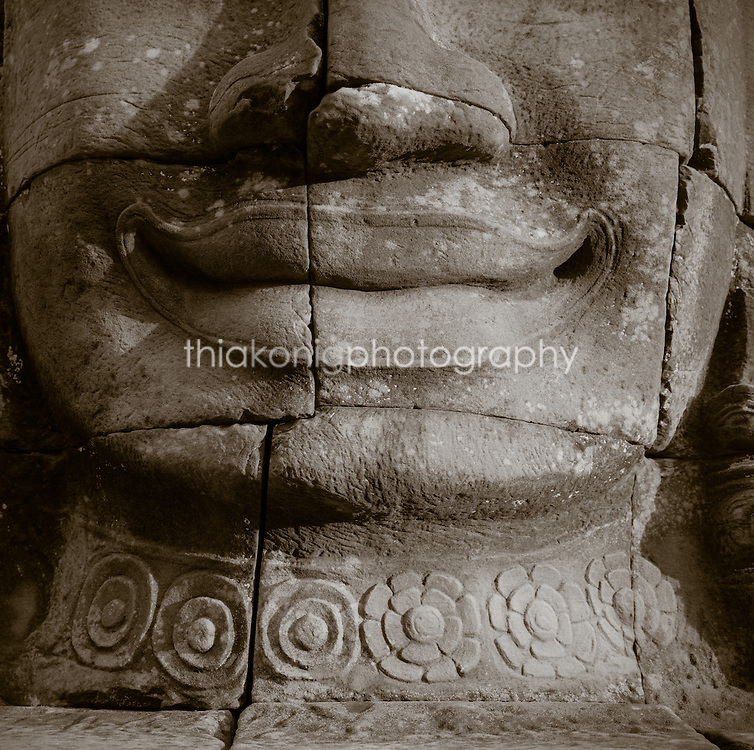 The famous Angkor smile, from the Banyan Temple, Cambodia.