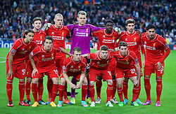 MADRID, SPAIN - Tuesday, November 4, 2014: Liverpool's players line up for a team group photograph before the UEFA Champions League Group B match against Real Madrid CF at the Estadio Santiago Bernabeu. Back row L-R: Adam Lallana, captain Martin Skrtel, goalkeeper Simon Mignolet, Kolo Toure, Fabio Borini, Emre Can. Front row L-R: Lazar Markovic, Javier Manquillo, Lucas Leiva, Alberto Moreno, Emre Can. (Pic by David Rawcliffe/Propaganda)