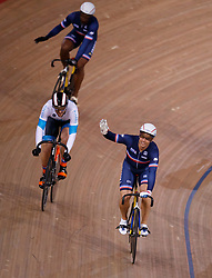 Michael Dalmeida celebrates winning the final of the men's Keirin during Round One of the 2017/18 Revolution Series at Lee Valley Velo Park, London.