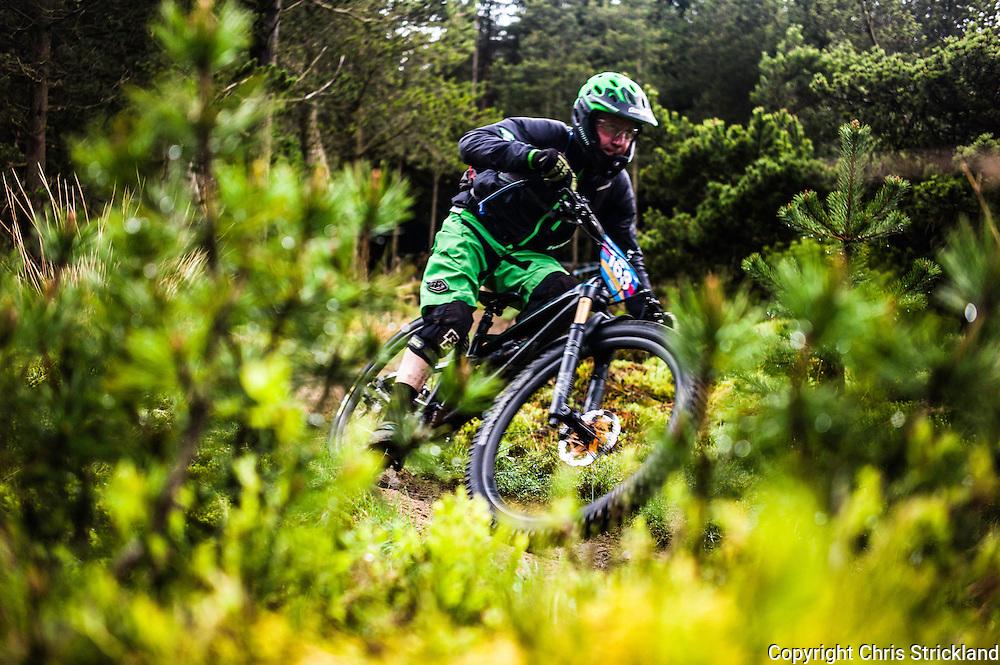 Glentress, Peebles, Tweed Valley, Scotland, UK. 21st May 2016. Mountain bikers compete in the Shimano International Enduro during Tweedlove Bike Festival in the Scottish Borders.
