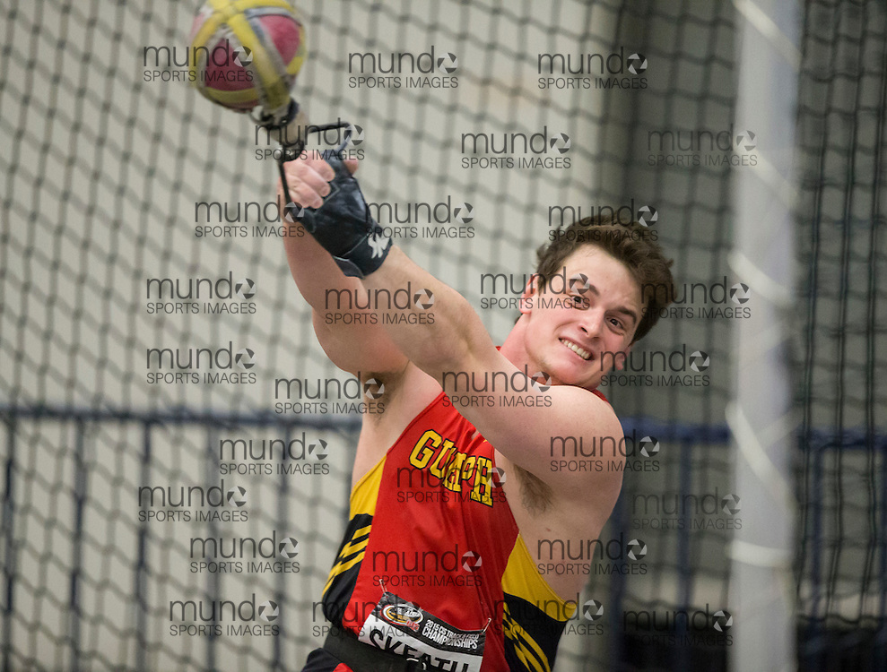 Windsor, Ontario ---2015-03-13--- Jared Skeath of the Guelph Gryphons competes in the weight throw at the 2015 CIS Track and Field Championships in Windsor, Ontario, March 13, 2015.<br /> GEOFF ROBINS/ Mundo Sport Images