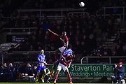 Northampton Town striker Kevin Luckassen (42) heads the ball during the EFL Sky Bet League 1 match between Northampton Town and Shrewsbury Town at Sixfields Stadium, Northampton, England on 20 March 2018. Picture by Dennis Goodwin.